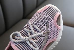 Adidasi decupati roz cu gri pentru copii