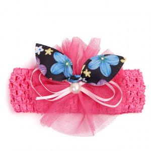 Bentita roz inchis pentru fetite - Fundita cu floricele