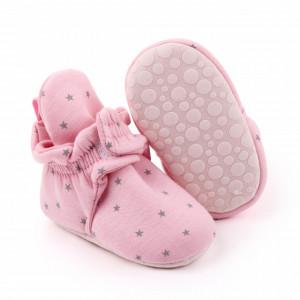 Botosei roz cu stelute gri pentru bebelusi