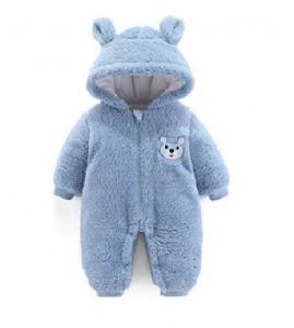 Combinezon plusat bleu - Teddy bear
