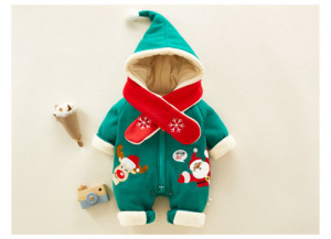 Combinezon verde pentru bebelusi - Hello Christmas