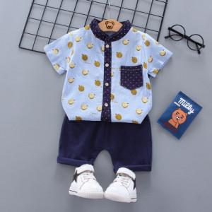 Costum bebelusi cu pantalonasi si camasuta bleu