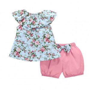 Costumas cu pantaloni roz bufanti pentru fetite