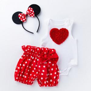 Costumas pentru fetite cu pantalonasi bufanti - Inima rosie