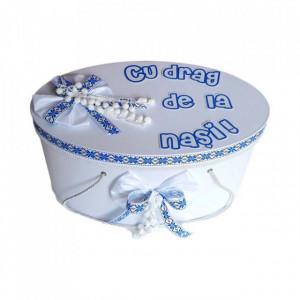 Cutie trusou botez personalizata cu mesaj, decor traditional albastru, Denikos® 227