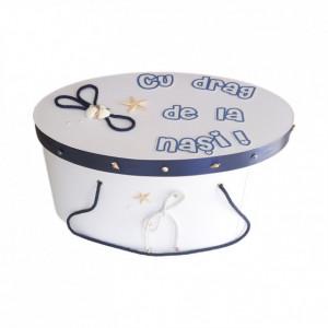 Cutie trusou botez personalizata, snur bleumarin si decor marin, Denikos® 226