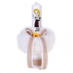 Lumanare botez pentru fetita, decorata traditional, Denikos® 56