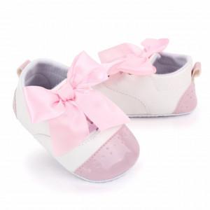 Pantofiori albi cu fundita roz