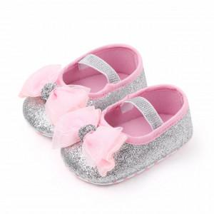 Pantofiori argintii cu sclipici si fundita roz