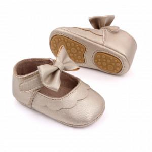 Pantofiori aurii cu volanas si fundita