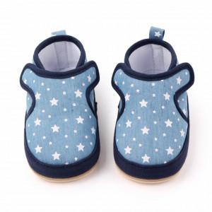 Pantofiori bleu cu stelute albe