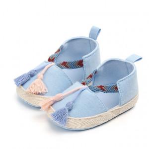 Pantofiori fetite bleu cu ciucurei