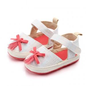 Pantofiori fetite cu fundita roz somon