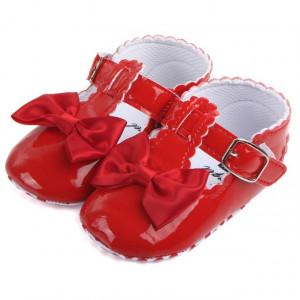 Pantofiori rosii din lac cu fundita