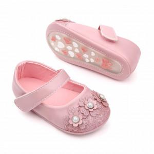 Pantofiori roz cu sclipici si floricele