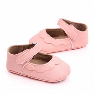 Pantofiori roz cu volanas pentru fetite