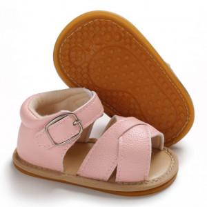 Sandale roz cu barete inchise la spate