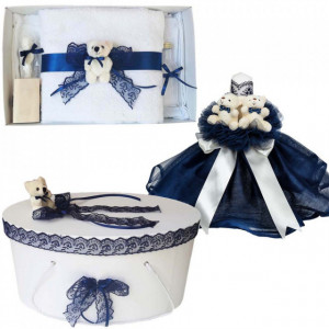 Set Ursuleti trusou botez, cutie trusou si lumanare, decor Bleumarin, Denikos® 573