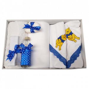 Trusou botez si lumanare cu ursulet, decor albastru, Denikos® 126