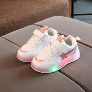 Adidasi albi cu stea roz si cu luminite