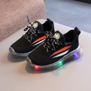 Adidasi negri cu dungi colorate si cu luminite