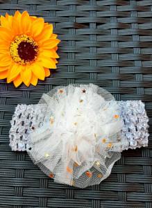 Bentita gri pentru fetite - Floare cu stelute