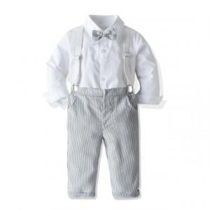 Costum elegant pentru baietei cu pantaloni cu dungulite