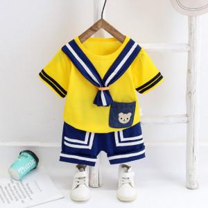 Costum pentru baietei cu tricou galben - Sailor