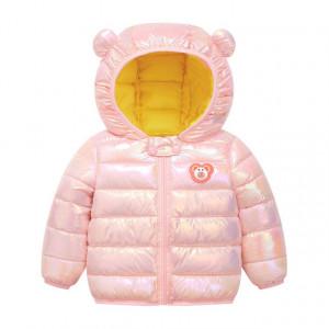 Geaca roz lucios pentru fetite - Ursulet