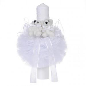 Lumanare botez 2 ursuleti, decor alb diafan, Denikos® 47
