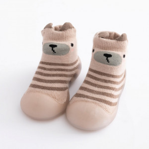 Mocasini cu talpa antiderapanta - Brown teddy