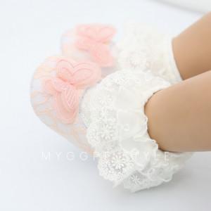 Pantofiori cu danteluta pentru fetite - Fluturasul roz