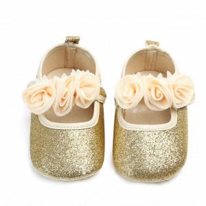 Pantofiori fetite cu sclipici auriu - Trandafirasi