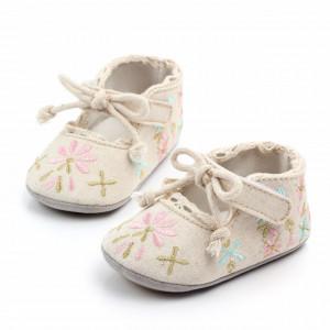 Pantofiori ivoire cu flori brodate