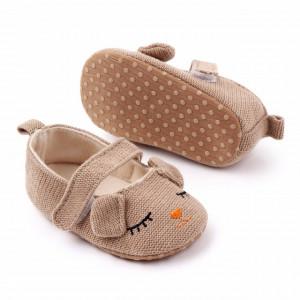 Pantofiori maro pentru fetite - Ursulet