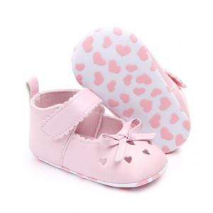 Pantofiori roz cu inimioare si fundita