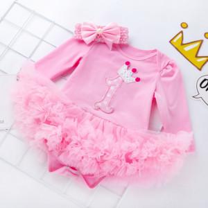 Rochita body roz cu maneca lunga si cu fustita tutu - First