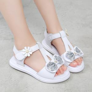 Sandale albe cu fundita argintie