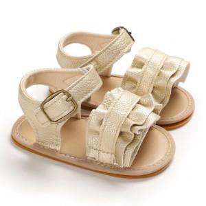 Sandale aurii cu volanas pentru fetite