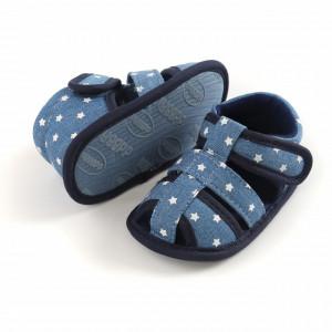 Sandalute din blugi cu stelute albe