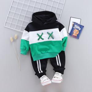Trening bebelusi alb cu verde si negru