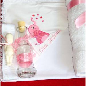 Trusou botez complet elefant roz personalizat cu numele copilului NKTB012-F