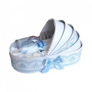 Trusou botez complet, in landou, decor elegant cu dantela bleu Denikos® 147