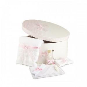 Trusou botez si cutie decorata dantela roz NK-TR-004