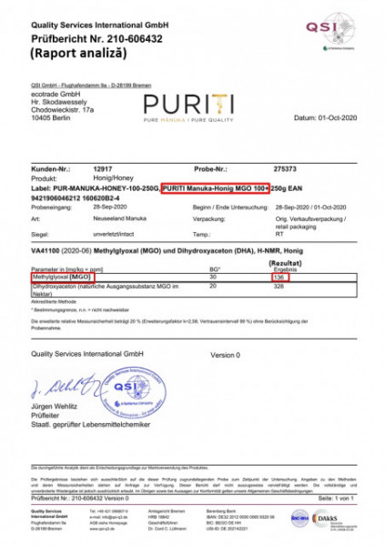 Miere de Manuka Puriti MGO 100+ (UMF 5+) Premium, Raw 500g