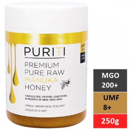Miere de Manuka Puriti MGO 200+ (UMF 8+) Premium, Raw 250g
