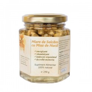 Miere de salcam cu miez de nuca 250g Stupina Moldovan