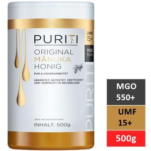 Miere de Manuka Puriti MGO 550+ (UMF 15+) Premium, Raw 500g