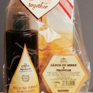 Set Cadou Lotiune Tonica + Crema de maini + Sapun cu miere 100g Apidava