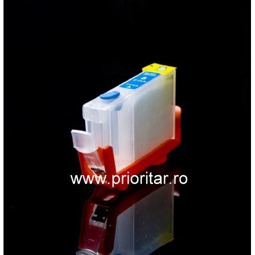Cartuse autoresetabile compatibil cu CANON CLI-8-C reincarcabile refilabile ( Cartus CLI8-CYAN cip auto-resetabil albastru )